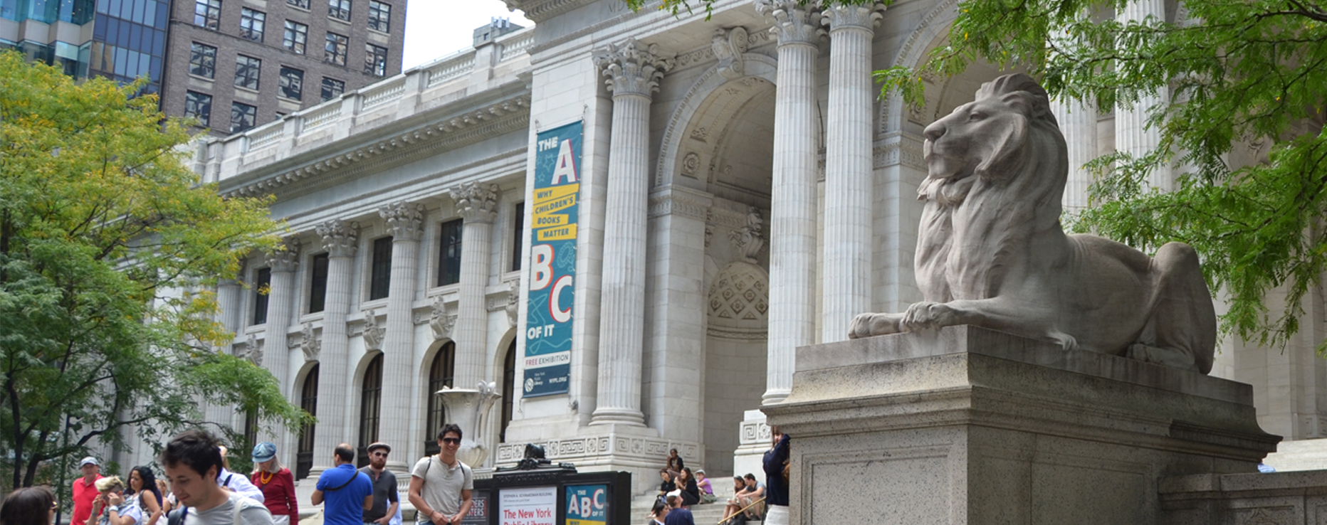 Lion statue at New York Public Library in Bryant Park
